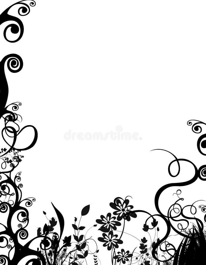 Bw foliage border stock illustration