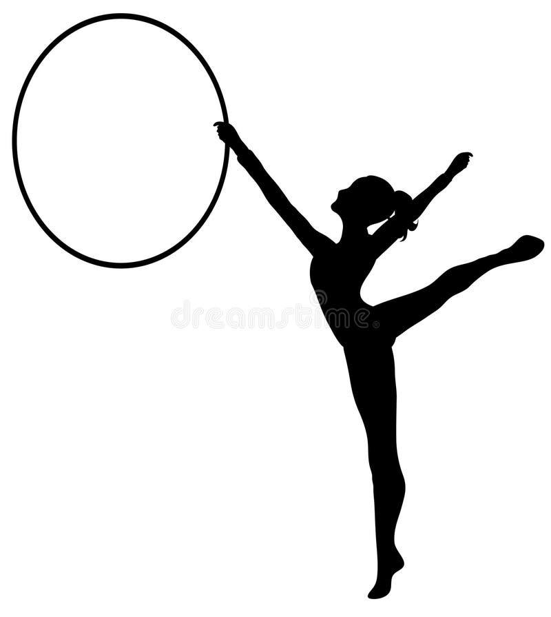 bw gimnastyk rytmiczne hoop ilustracja wektor