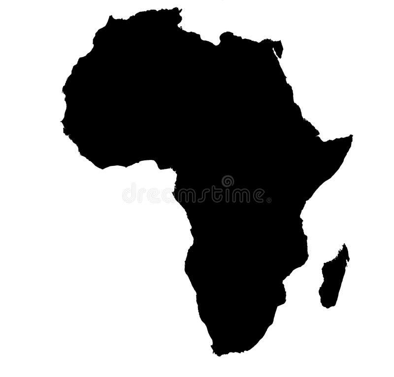 Bw kaart van Afrika stock illustratie