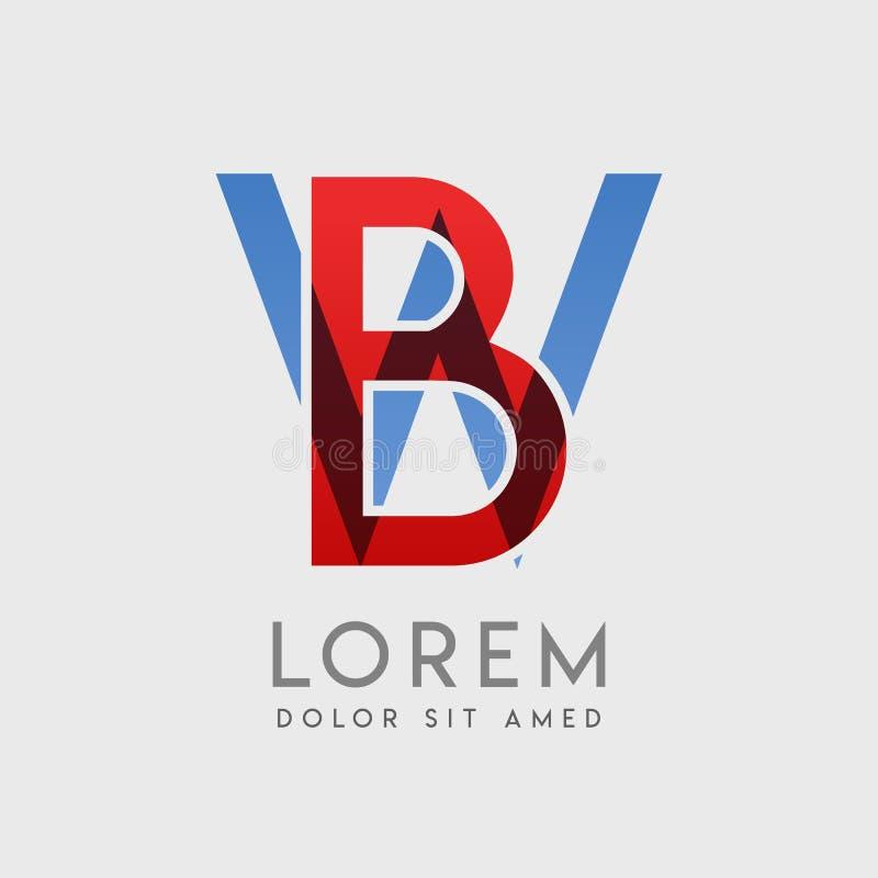 BW loga listy z błękitną i czerwoną gradacją ilustracji