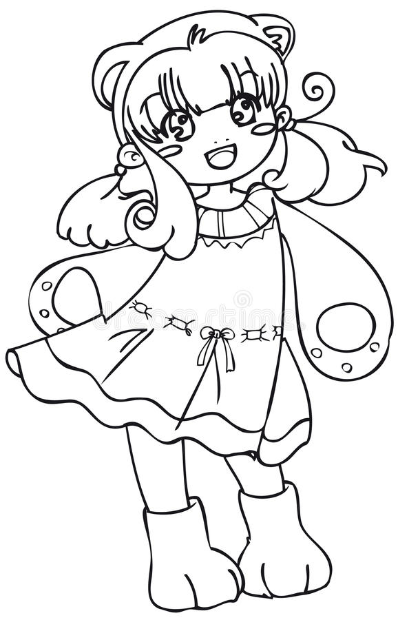 Download BW - Manga Kid With A Bear Costume Stock Vector - Image: 12684176