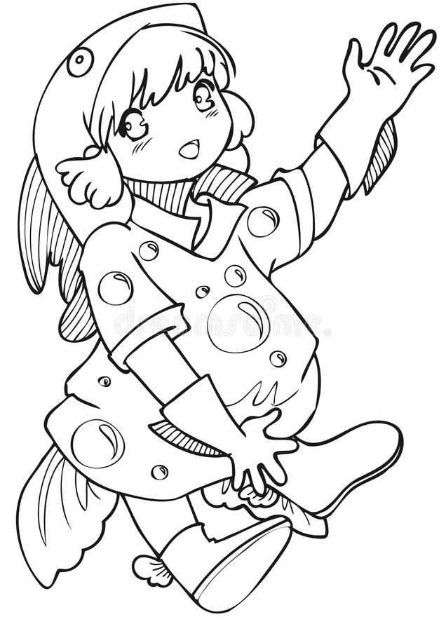 Download BW - Manga Kid With A Fish Costume Stock Vector - Image: 12684151