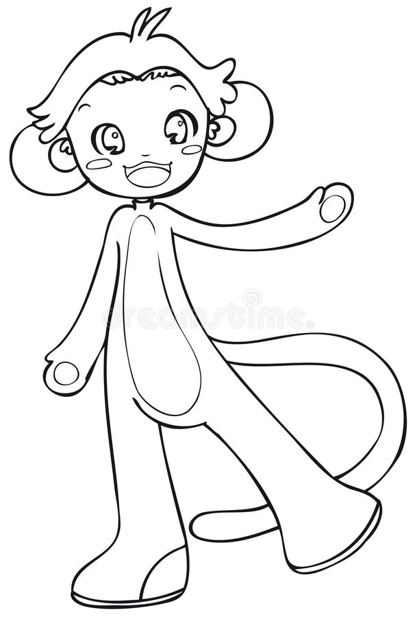 Download BW - Manga Kid With A Monkey Costume Stock Vector - Image: 12684121