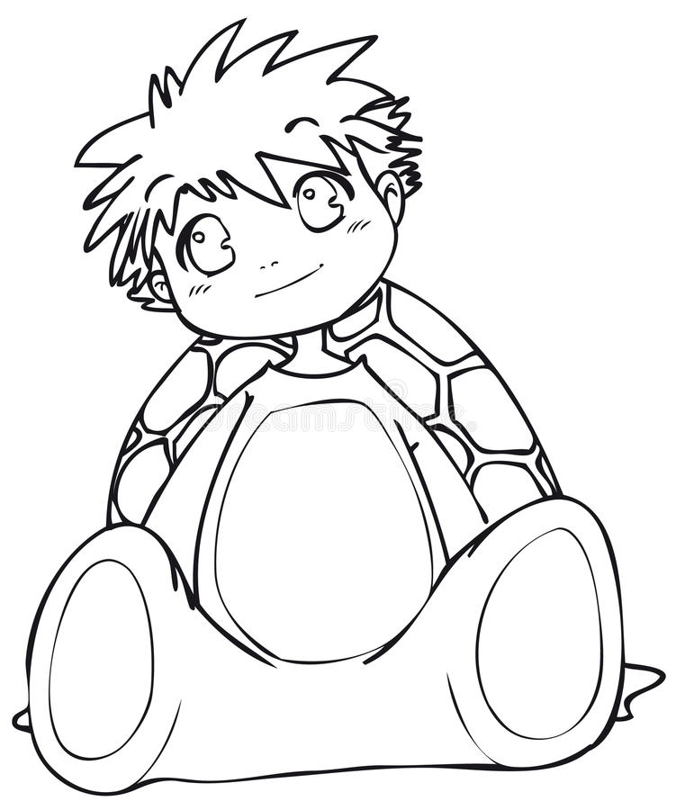 BW - Manga Kid With A Turtle Costume Royalty Free Stock Photography