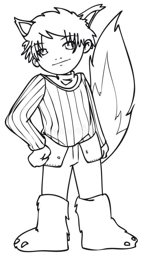 BW - Manga Kid With A Wolf Costume Royalty Free Stock Image