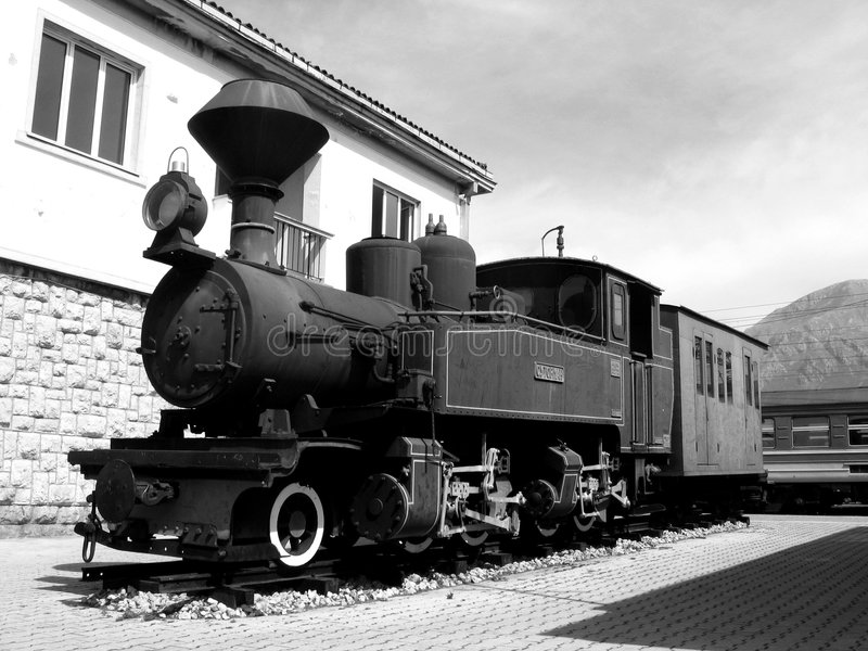 Download BW old train stock photo. Image of details, black, building - 699258
