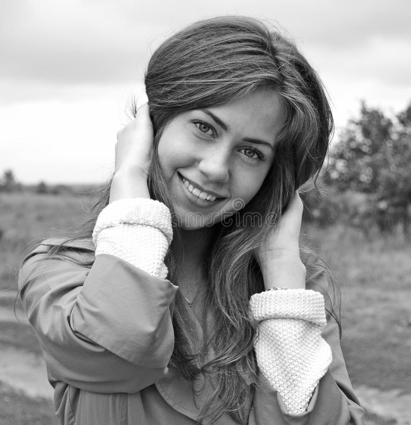 Download Bw portrait stock image. Image of female, cheerful, person - 25500429