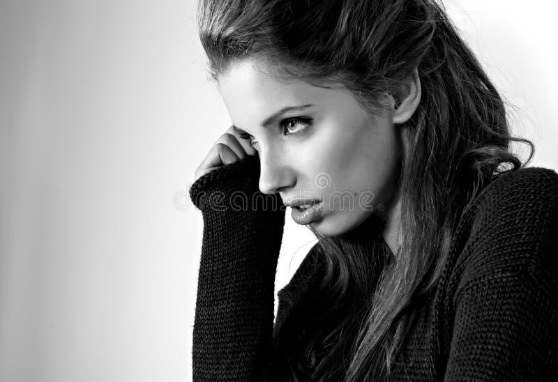 BW portrait of attractive brunette