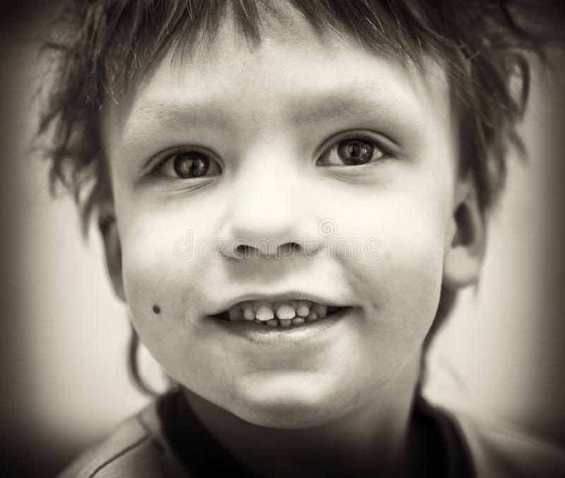 Download BW portrait of smiling boy stock photo. Image of looking - 18205286