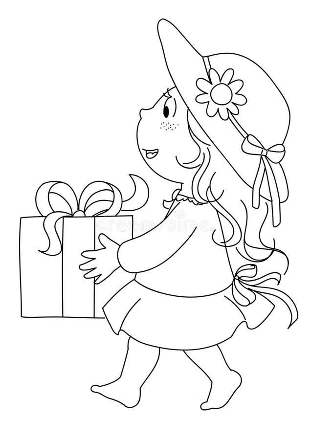 bw prezenta dziewczyna ilustracji