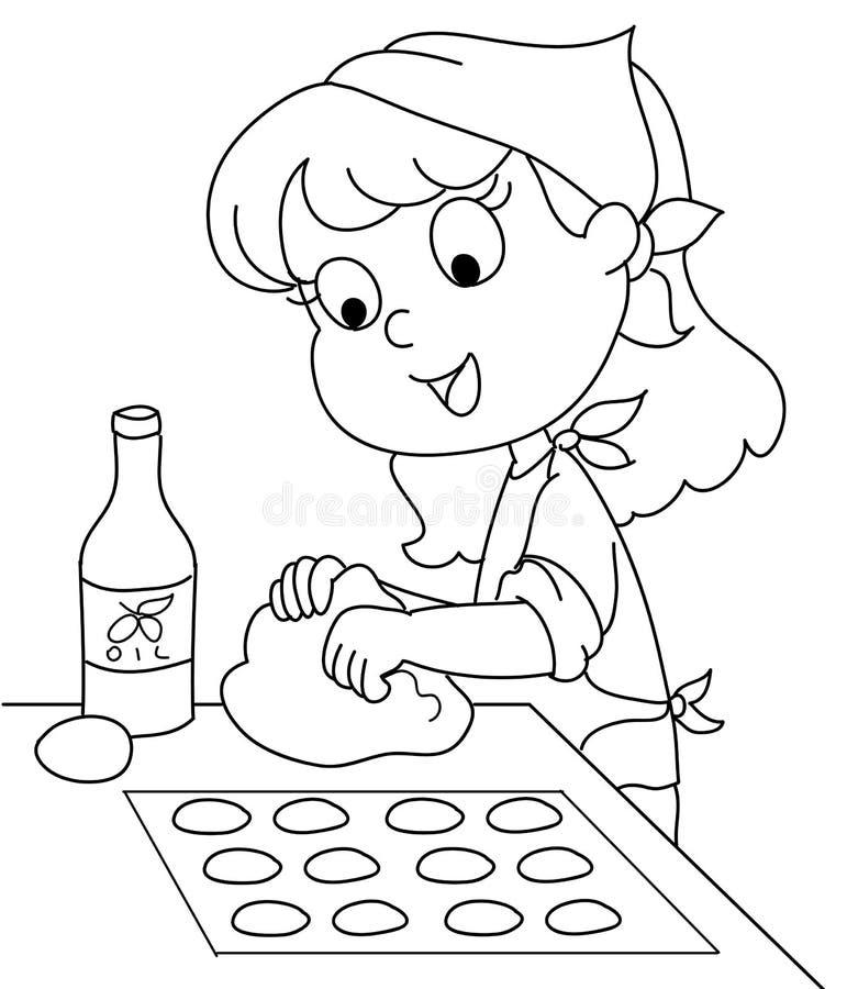bw szef kuchni potomstwa ilustracja wektor