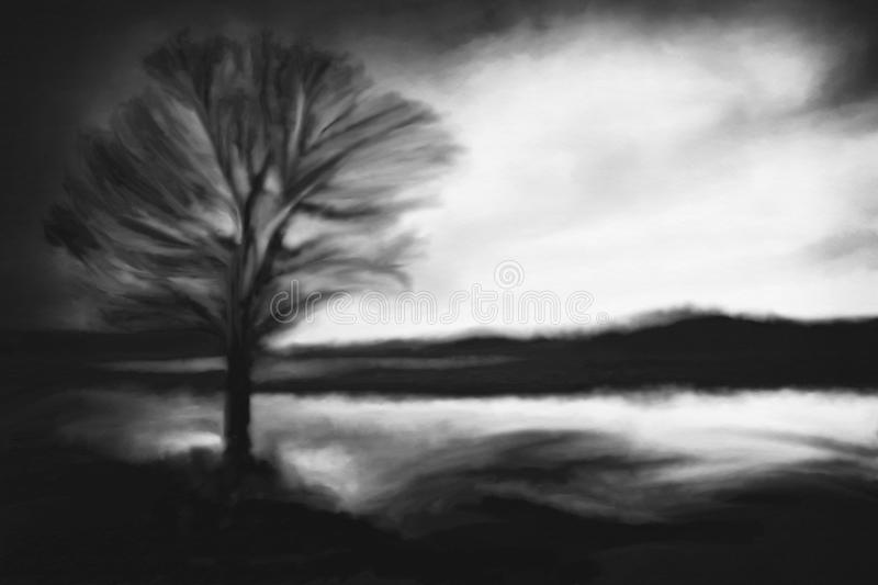 bw tree silhouette vector illustration