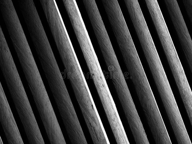 BW of wood lath pattern stock image