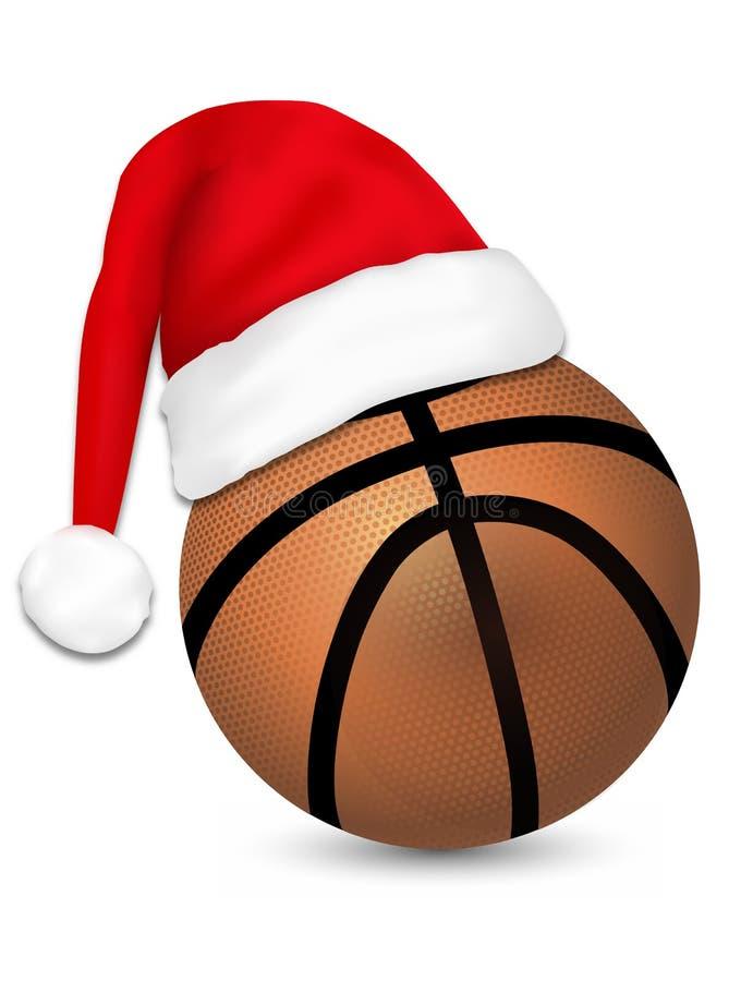 Być ubranym Święty Mikołaj na koszykówki piłce royalty ilustracja
