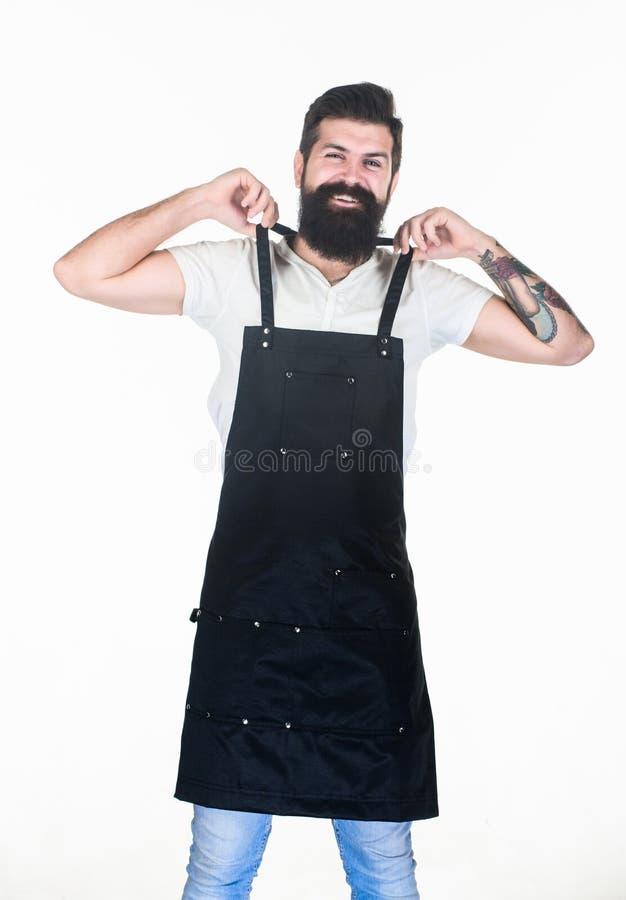 Być workaholic Praca nałogowiec Modniś dostaje gotowy dla pracy rutyny w zakładzie fryzjerskim lub kuchni Brodaty mężczyzny kładz obrazy stock