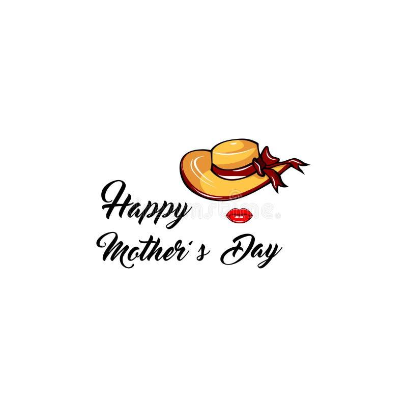 Być wypełnionym czymś kapelusz, Czerwone wargi matka dnia kartka z pozdrowieniami Mama prezent wektor ilustracja wektor