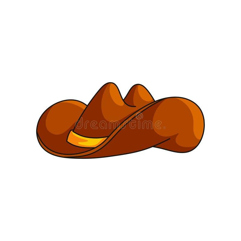 Być wypełnionym czymś kowbojskiego kapeluszu dziki zachodni symbol odizolowywający na białym tle ilustracja wektor