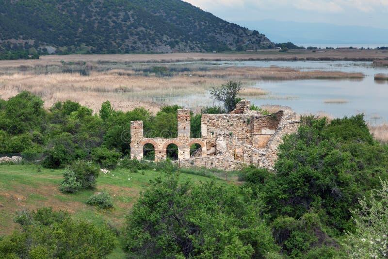 Byazntine basilica on the island of Agios Achilios , Small Prespa Lake, Macedonia, Greece stock images