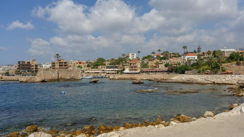 Byblos antique harbor in lebanon stock images