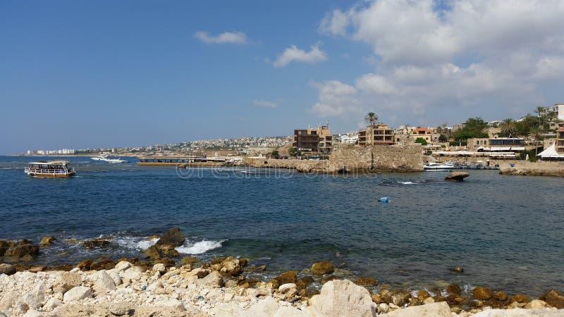 Byblos antique harbor in lebanon royalty free stock photo