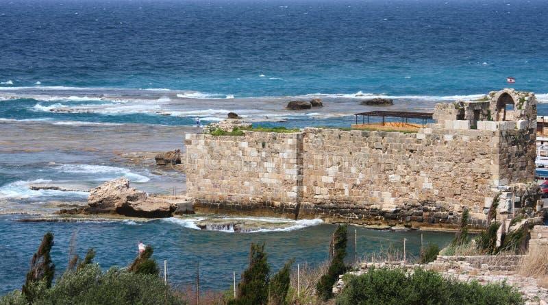 Byblos Harbor Archeological Site, Lebanon stock image