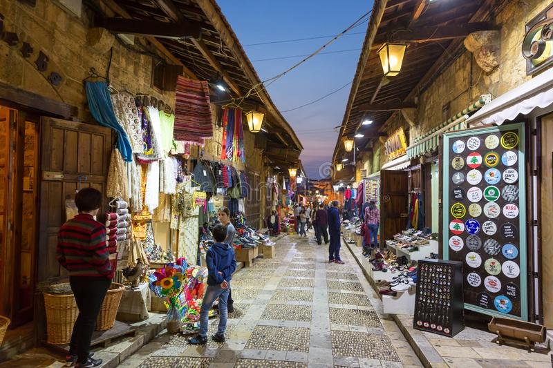 Byblos, Lebanon - Feb 12th 2018 - Tourists and locals walking through the local market of Byblos in the late afternoon in Lebanon stock photos