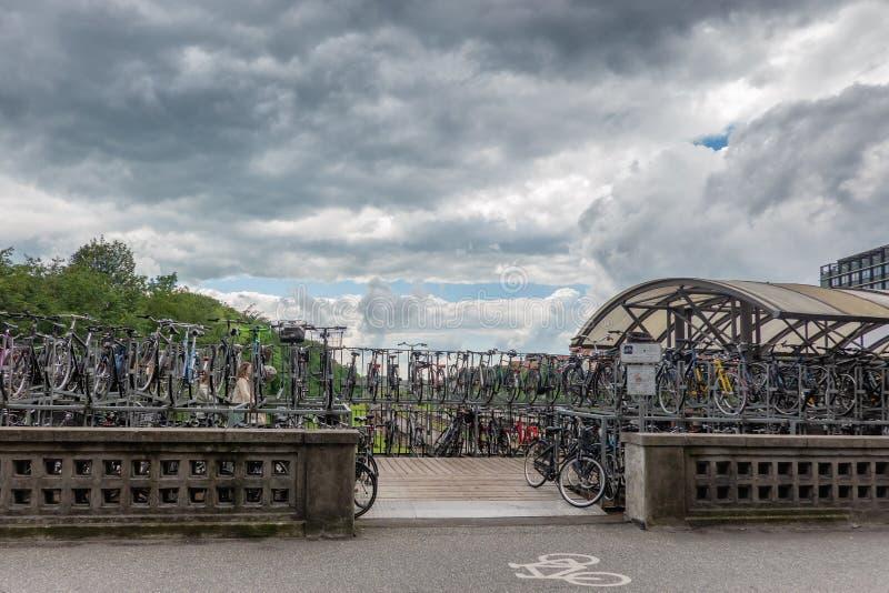 Bycicle停车处在奥尔胡斯市中心,丹麦 免版税库存图片