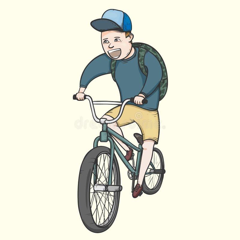 Bycicle do bmx da equitação do menino de escola ilustração stock