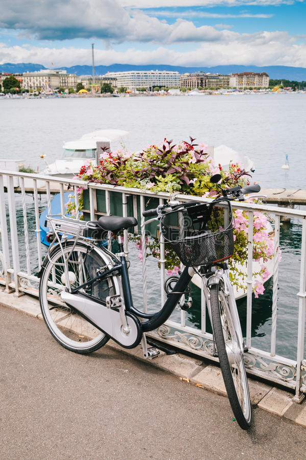 Bycicle In Geneva Lake Royalty Free Stock Photography