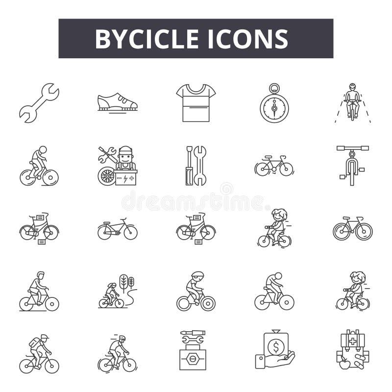 Bycicle linje symboler för rengöringsduk och mobil design Redigerbart slaglängdtecken Illustrationer för Bycicle översiktsbegrepp stock illustrationer
