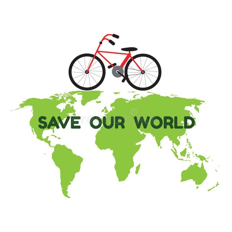 Bycicle op groene wereldkaart en het woord bewaren onze wereld voor environme vector illustratie