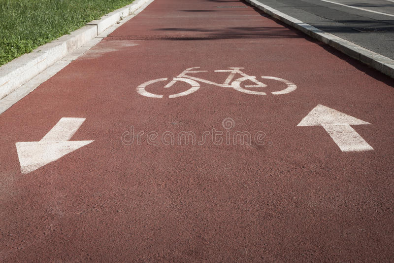 Download Bycicle Symbol On A Cycle Path Stock Photo - Image: 30872516