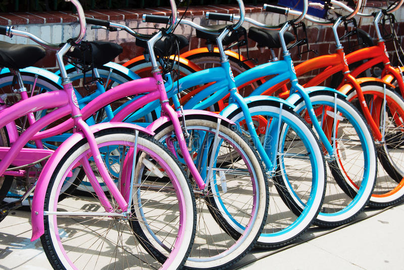 Bycicles em Santa Monica - a praia de Veneza foto de stock