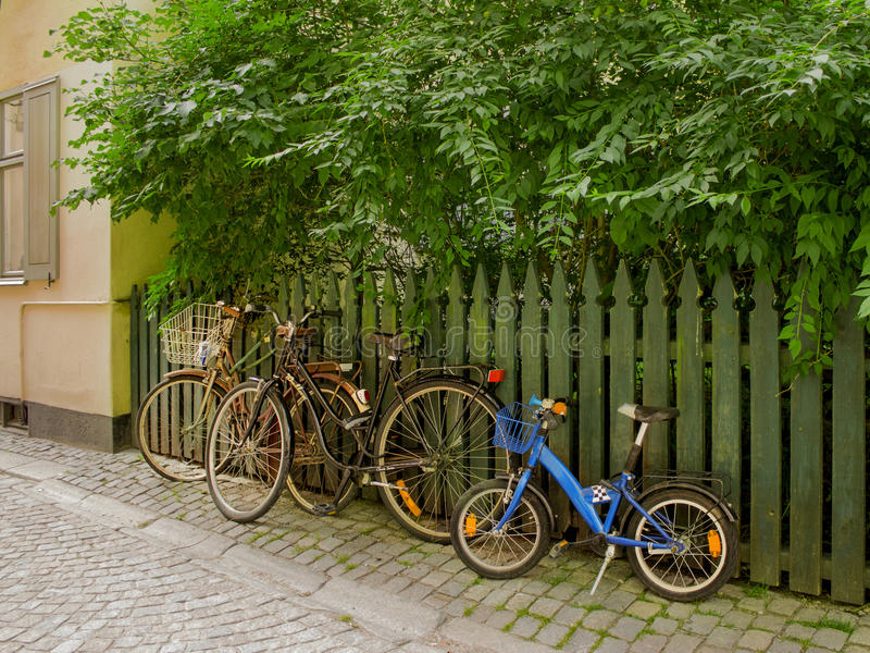 Bycicles left royalty free stock photos