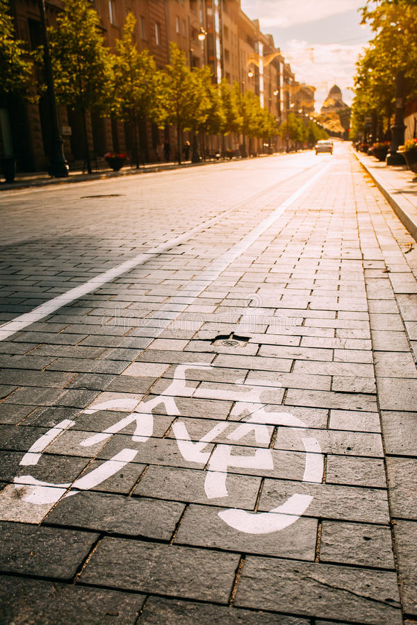 Bycycle vägmärke, vägmarkering av cykelbanan längs aveny eller royaltyfri fotografi
