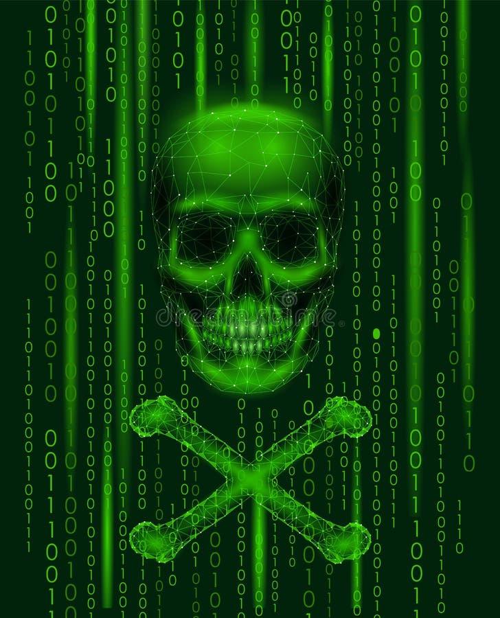Bycze Roger czaszki binarnego kodu liczby Hackera piractwa ataka komputerowy online ostrzeżenie Straszni ostrzegawczy sieka zbawc ilustracja wektor