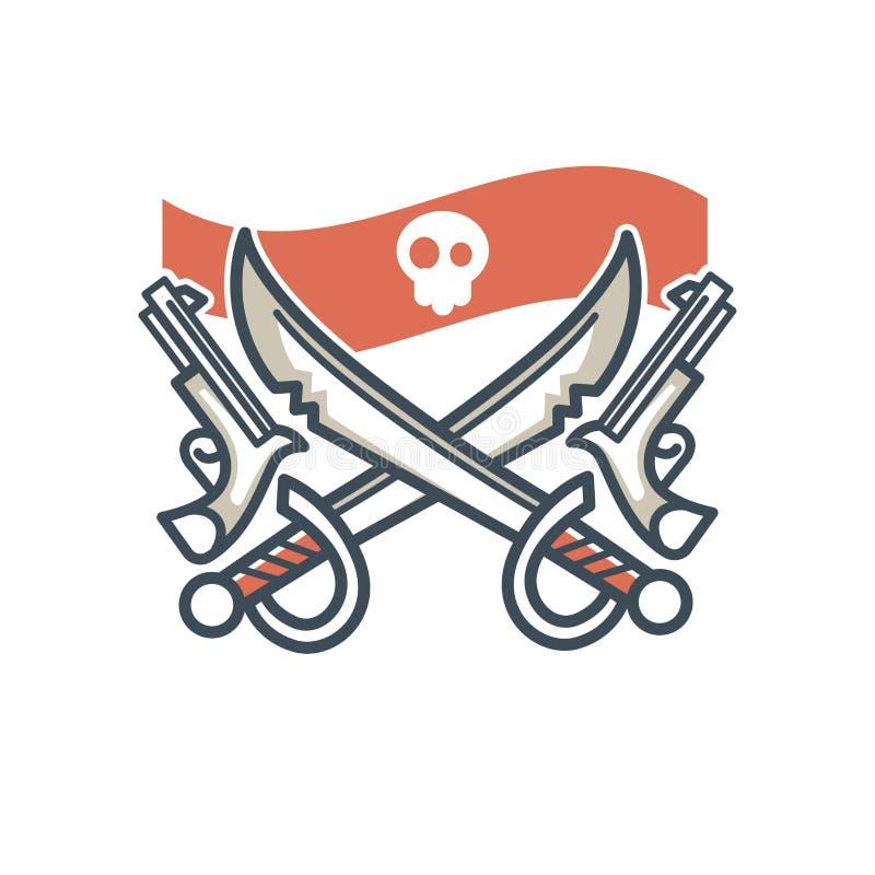 Byczego Roger pirata ikony flaga wektorowa czaszka i krzyżujący sabers royalty ilustracja
