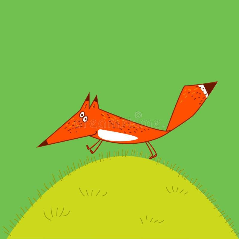 Byczy Fox bieg przez trawy kreskówki stylu pocieszną ilustrację zielenieją tło ilustracji
