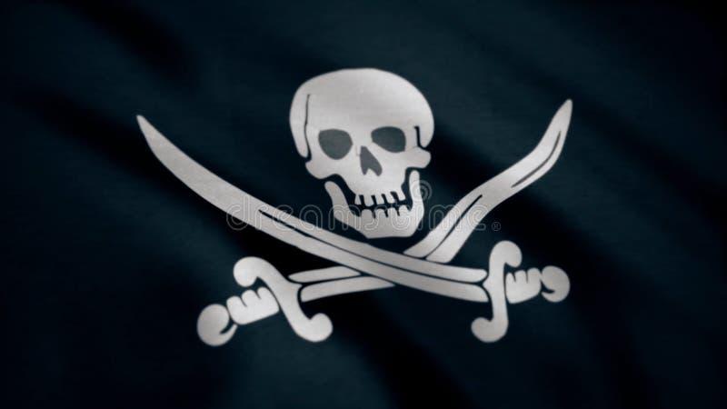 Byczy Roger jest tradycyjnym angielszczyzny imieniem dla flaga latać utożsamiać pirata statek wokoło atakować Animacja pirat obraz royalty free