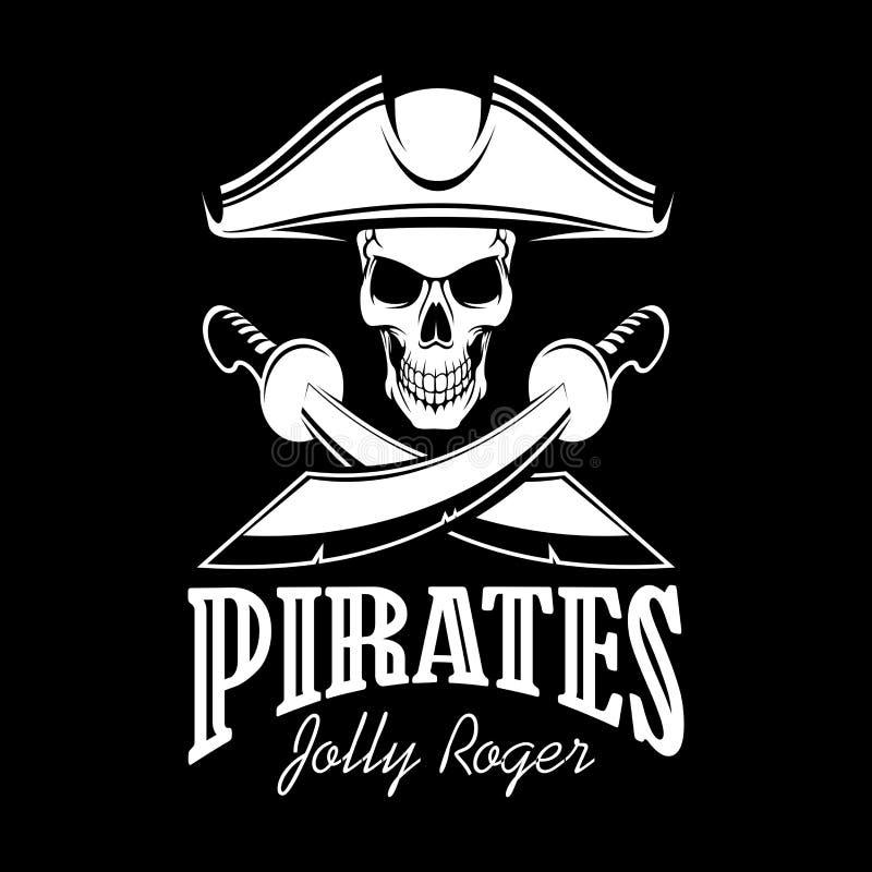Byczy Roger w tricorne pirata wektoru kapeluszowym plakacie ilustracji