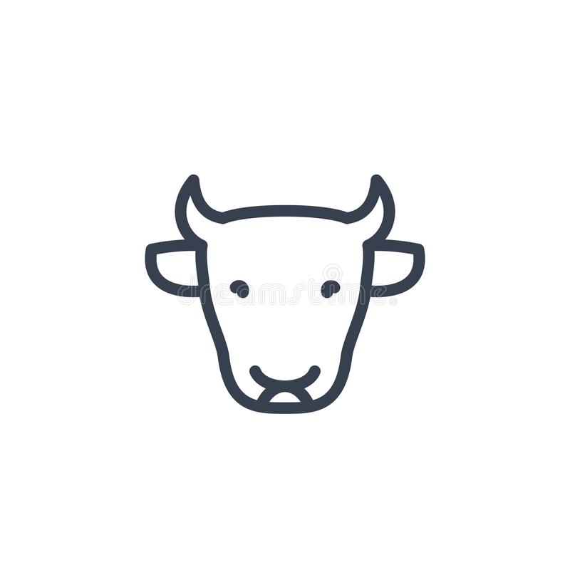 Bydło ikona, krowy głowa, bydła gospodarstwa rolnego liniowy znak ilustracja wektor