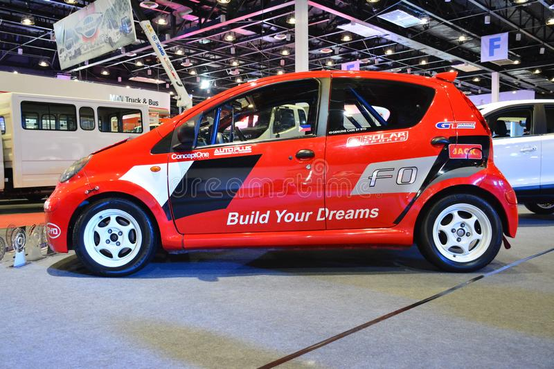 BYD F0 compact car. PASAY, PH - AUG. 17: BYD F0 compact car on August 17, 2018 at Transport and Logistics in World Trade Center Metro Manila, Pasay, Philippines royalty free stock photo
