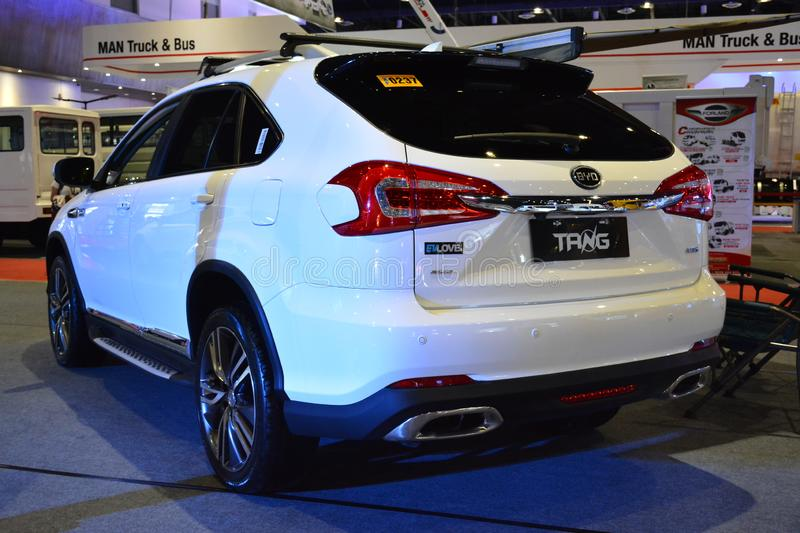 BYD Tang sports utility vehicle. PASAY, PH - AUG. 17: BYD Tang sports utility vehicle on August 17, 2018 at Transport and Logistics in World Trade Center Metro royalty free stock images