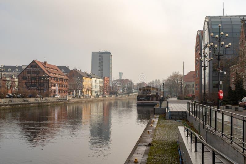 Bydgoszcz, kujawsko-pomorskie / Poland - January, 31, 2019: City of Bydgoszcz, downtown. Embankment of the Brda River in Bydgoszcz royalty free stock images