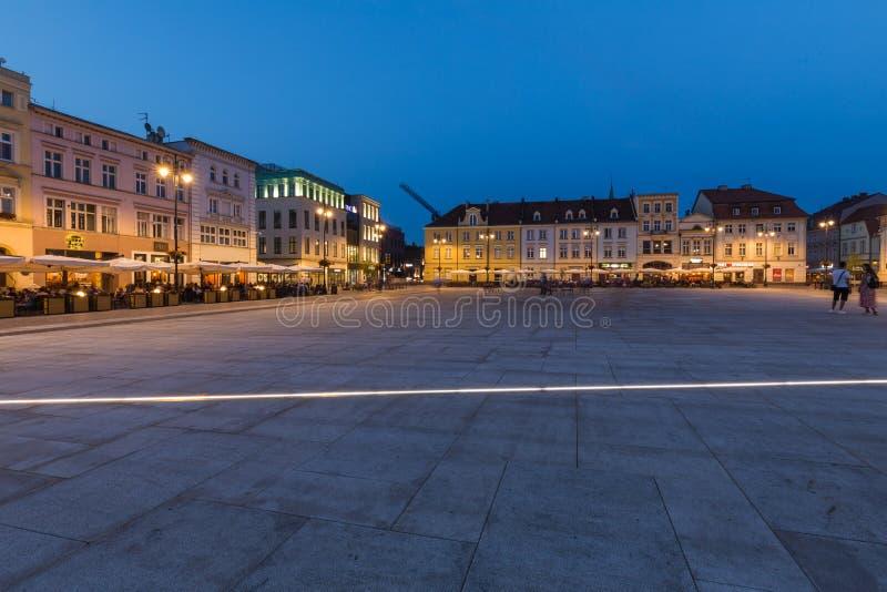 Bydgoszcz by night. Kuyavian - Pomeranian Voivodeship in Poland. Historic city center on the Brda River. August 2019. Bydgoszcz.  Kuyavian - Pomeranian stock photography