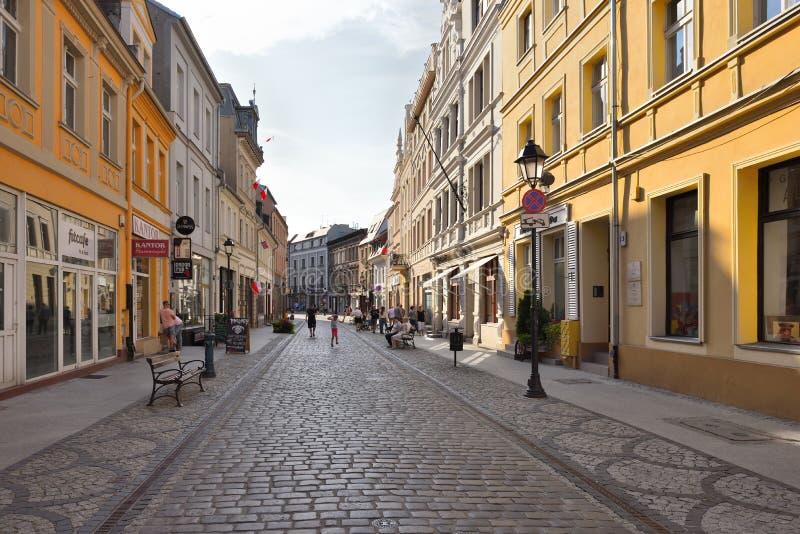 Beautiful Dluga street at historical district of Bydgoszcz royalty free stock image