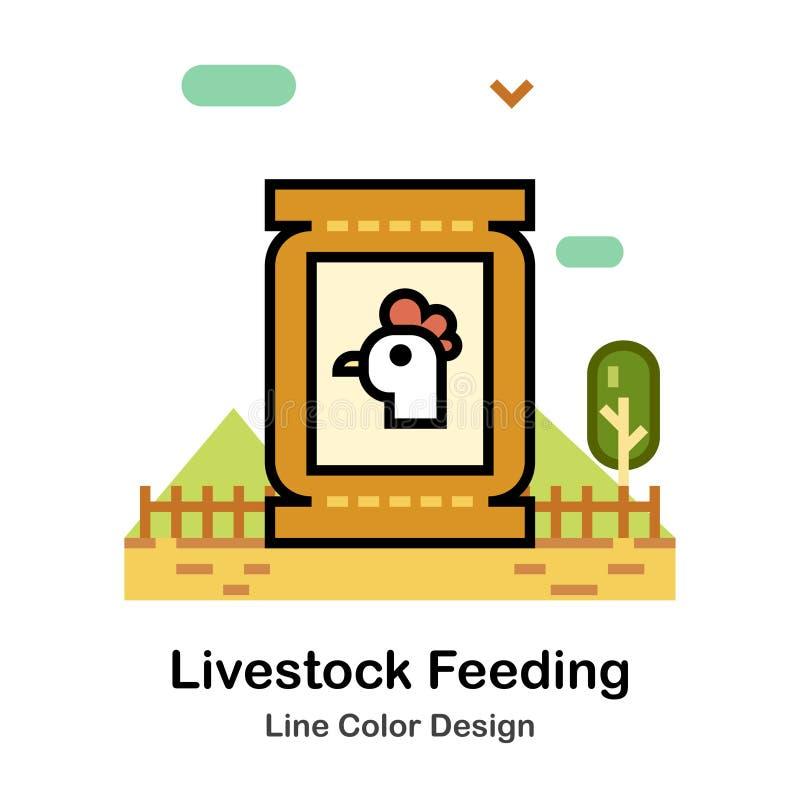 Bydlęcia karmienia linii koloru ikona ilustracja wektor