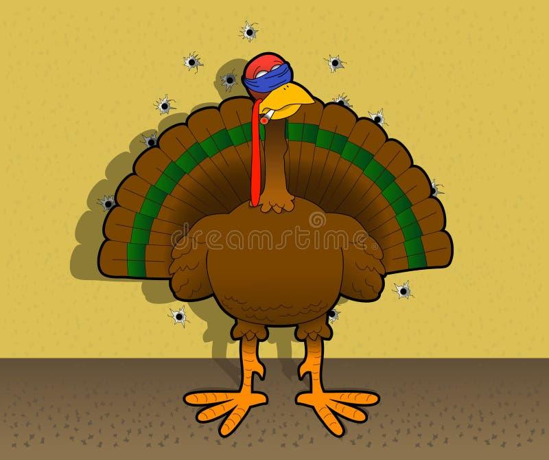 Bye-bye_turkey. Cartoon graphic depicting a turkey before a firing squad (concept: turkey shoot royalty free illustration