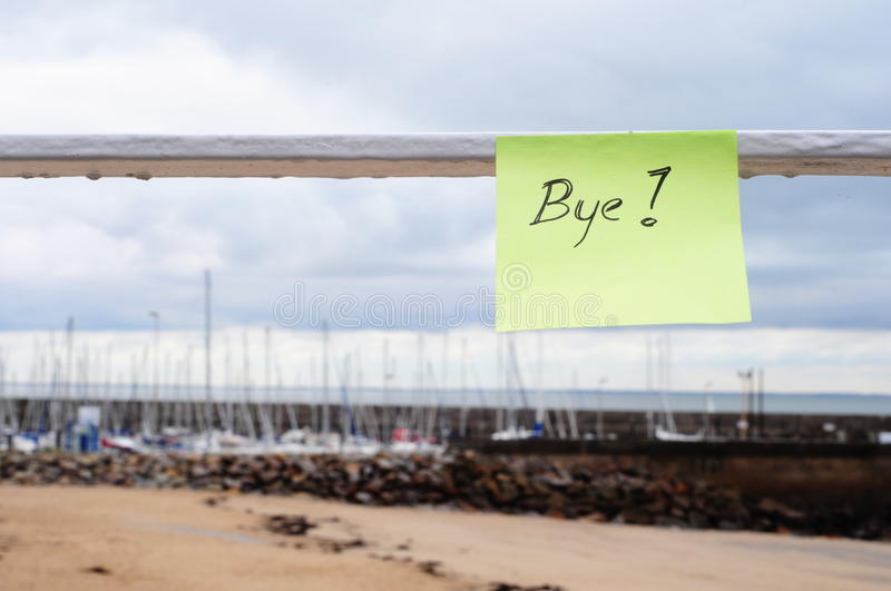 Download Bye message on the port stock image. Image of horizon - 21599281