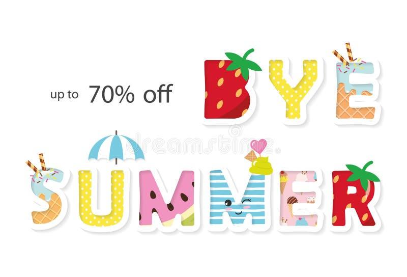 Bye summer sale banner. Funny cartoon letters. Vector. Illustration royalty free illustration